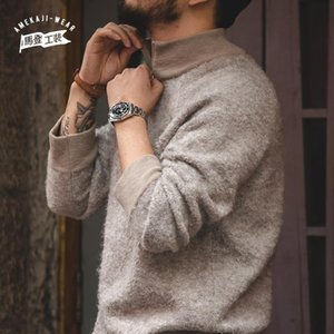 Maden Vintage Men's Sweaters Turtleneck Solid Color Casual Sweater Slim Brand Knitted Pullovers Man Clothing