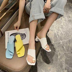 Yuxiang 2020 Newest High Quality Women Slides Square Toe Slippers Summer Outdoor Beach Sandalias antideslizantes Sandalias Femeninas Zapatos1