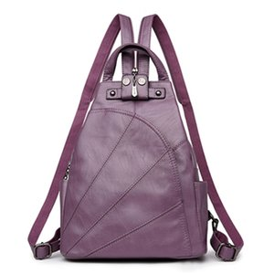2021 Soft leather backpacks for girls in solid color with large capacity and multiple pockets. School backpacks in 6 colors Bag