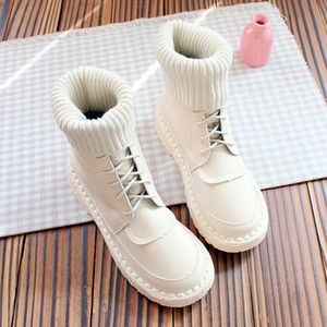 Wenyi Sen flat bottom wool mouth short boots soft bottom comfortable Martin boots hand-stitched women's casual cotton