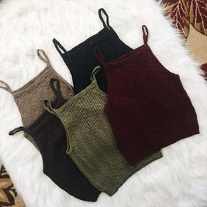 Solid Summer Vest Crop Top For Womens Knit Sleeveless Sling Tanks Casual Lines Tank Tops Holiday Camis For Female Camis