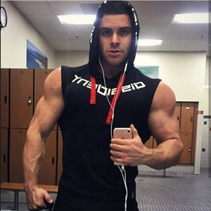 Muscleguys Brand Gyms Clothing Fitness Men Tank Top hooded Mens Bodybuilding Stringer Tanktop workout Singlet Sleeveless Shirt Y200106