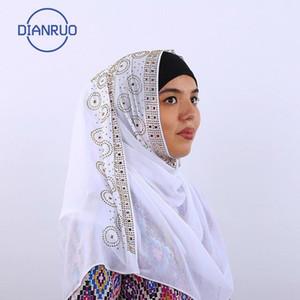 DIANRUO nuova delle donne cotone testina di stampa della sciarpa Hijabs scialli di buona qualità Sciarpe musulmana Turbante sciarpa di inverno lungo Hijab N493