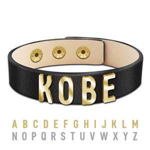 Personalized Stainless Steel Letter Names Leather Bracelet for Men Women Jewelry Handmade Wrap Rope Male Bracelets Gifts