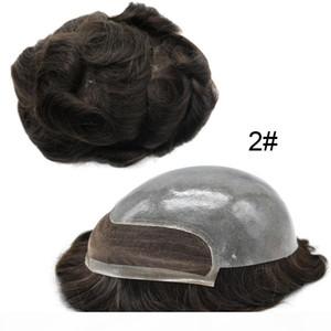 AOHAI TOUKEE Fransız Dantel Ön İnsan Saç Sistemi 10x8 Şeffaf Cilt PU Saç Yedek Ağartılmış Knot Erkekler Için Temizle Poli Postiş Peruk