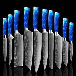 Küchenmesser Set 10 Stück Chefmesser Professionelle Japanisch 7cr17 Edelstahl Laser Damaskus Messer Scharfe Santoku Blue Resin Handl