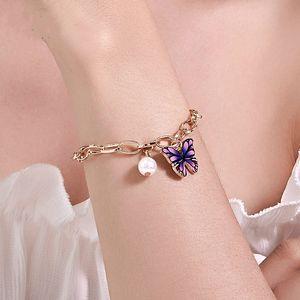 Colorful Butterfly Bracelet Elastic Creative Chunky Pearl Bead Bracelet Charm Bracelet Bangle Cuff Sets Jewelry