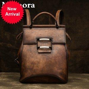 Motaora Damen Tasche Hohe Qualität Vintage Rucksack Für Frauen Luxus Echtes Leder Rucksäcke Große Kapazität Handgemachte Taschen Weiblich3MQN