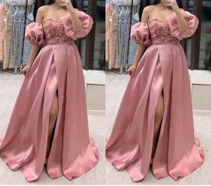 Elegant Detachable Sleeves Dusty Rose Pink 2021 Evening Bridesmaid Dresses A line Satin High Slit Applique Flowers Party Prom Formal Dress