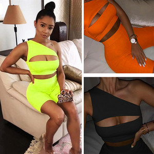 Summer Women 2 two piece Sportswear neon tracksuit Sexy Cut Out one off Shoulder crop top Biker Shorts legging Set Sweatsuit Outfit clothes