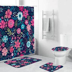 Dafield Душевая занавеска наборы с нескользящим ковром Туалет крышка крышки для ванны Цветочный душевой занавес с крючками водонепроницаемый ванна