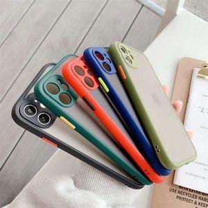 DHL 100 pcs caso telefone para iphone 6 7 8 mais x 11 12 pro max xr xs max 7plus luxo contraste cor quadro cor matte dura tpu + pc protetora