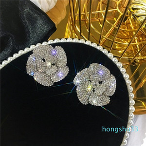 Hot Sale Super glittering full diamonds fashion luxury designer beautiful exaggerated camellia flower stud earrings for women girls