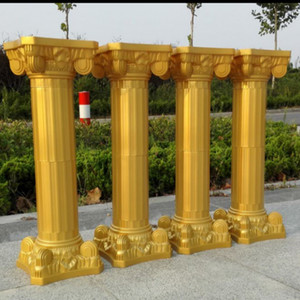 Free Shipping Gold Roman Columns Plastic Pillars Road Cited Wedding Props Event Decoration Supplies 4pcs lot