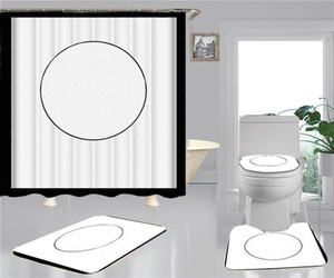 Trenddruck Duschvorhänge Sets Hipster hochwertiger vierteiliger Anzug Badezimmer Anti-Peeping rutschfeste Deodorant-Bad-Toilettenmatten