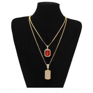 Men Hip hop Pendant Necklace Set Gold Color Iced Out Micro Rhinestone Necklaces Mini Square Red Blue Gem Crystal Dog Tag Jewelry Sets