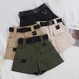 European and American casual high waist overalls women loose loose thin multi pocket shorts military straight belt blanc culotte