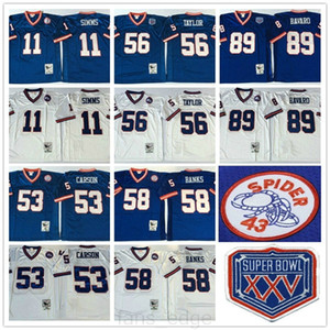 Футбол NCAA Vintage Retro 56 Lawrence Taylor 89 Mark Bavaro 11 Phil Simms 53 Harry Carson 58 Carl Banks Blue White Tribersys