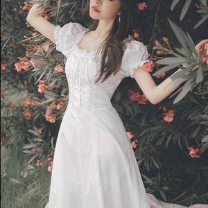 Elegant Fairy Dress Women White French Puff Sleeve Chiffon Dress Korean Japan Style Sweet Vintage Retro Summer 2020