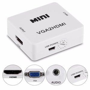VGA ao conversor HDMI 1080P VGA2HM Adapter Cabo de alimentação de áudio para PC Laptop DVD para projetor HDTV