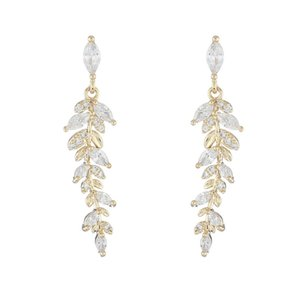 Luxury Gold Color Leaves Earrings Delicate Micro Inlaid Cubic Zircon CZ Stud Earrings for Women Elegant Fashion Wedding Jewelry