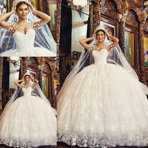 2021 Nova Vestido de Bola de Renda Árabe Princesa Vestidos De Noiva Scoop Sheer Pescoço Comprimento do Chão Appliques Plus Tamanho Jardim Vestidos Bridais Robes de Marie