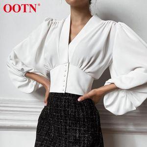 OOTN Elegante Blouse Bianco Blusa Donne Camicia Top femminile Tunica con scollo a V Bottone Giù Chic Casual Vino Casual Blouse Rosso Lantern Sleeve Ladies 2020