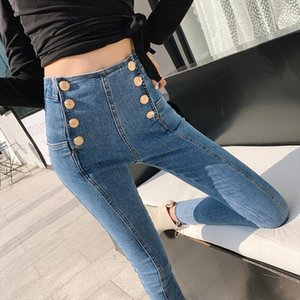 High Waist Women Jeans 2019 New Korean Spring Summer Fashion Retro Pants Double Breasted Blue Pencil Pants for Female