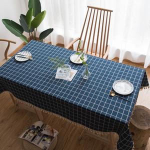 Natürlicher Ebene Baumwolle Leinengewebe Tischtuch Fuzzy Bull Quaste Tisch Tuch1