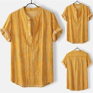 Mens diseñador ocasional camisa de la impresión del verano de manga corta floja Moda Collar del mandarín Homme ropa