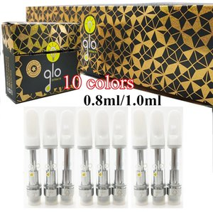 GLO Extracts Vape Cartridges 0.8ml 1ml Empty Vape Pens 510 Thread Oil Cartridges 1 Gram Carts Glass Tanks Ecigs Vaporizer with new Packaging