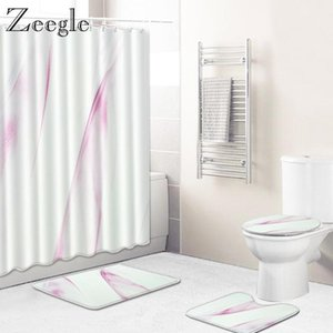Zeegle Bath Mat Set Toilet Cover Seat Mat Anti Slip Toilet Pedestal Rug Bathroom Shower Doormat Waterproof Shower Curtain
