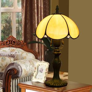 European Simple Table Lamp Retro Tiffany Yellow Glass Table Lamp Restaurant Bedroom Bar Hotel Bedside Table Lamp