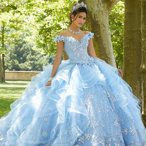 Light Blue Crystals Quinceanera Dresses Off the Shoulder Ruffles Tulle Skirt Sweet 16 Dress 3D Flower Bead Pageant Gown