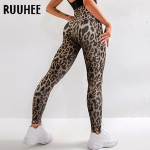 RUUHEE Tight Leggings Leopard Sports Women Fitness With Pocket Yoga Pants Stretch Workout Leggings Patchwork Slim Gym Leggings Q1125