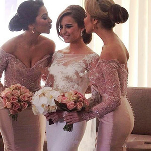 Dusty Pink Off Shoulder Bridesmaid Dresses Lace Beaded Wedding Guest Prom Gowns 2021 Arabic Mermaid Long Sleeves Maid Of Honor Dress AL7810