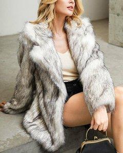2020 Winter High Quality Faux Fur Mid Coat For Women Plus Hoodie Luxury Elegant Long Sleeve Loose Female 2021 Clothing Fourrure