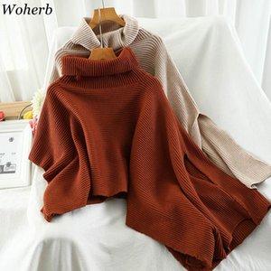 Woherb 2020 Nueva Otoño Invierno Caliente sólido Ponchos y capas de las mujeres de gran tamaño Chales Mujer cuello alto asimétrico del Cabo