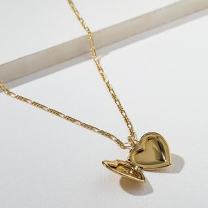Love Heart Locket Necklaces Thick Chain Gold Necklaces for Women Vintage Pendant Necklace 2020 Trendy Gift for Friend