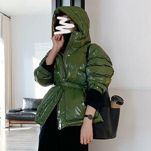 Jacket de Janveny Mulheres Winter Curto soprador 2020 Brasão Waterproof Mulheres 90% Duck Down Parkas Feminino Outwear Glossy