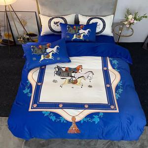 Blue designer bedding sets velvet duvet cover bed comforters cover set queen size king size quilt cover luxury bed sheet pillowcases