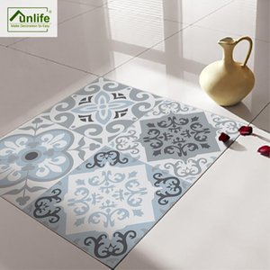 Funlife Anti-Slip Waterproof Self-Adhesive Removable Floor Sticker Wall Sticker Blue &Grey Mediterranean Geometry Bathroom DB116