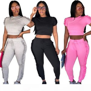 Summer Women Tracksuits Two Piece Sets Fashion Casual Side Ruffle Crop Top and Long Pants Ladies Sweat Suits Jogger Leisure Suit