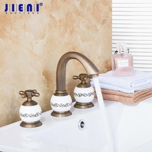 Luxury Brass Material Golden Hot Cold Bathing Faucet Tap 3PCS Set Antique Brass Bathtub Shower Basin Mixer Tap Faucet