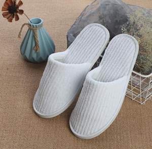 Disposable Slippers Coral Fleece Anti-slip Home Guest Shoes Thicken Travel Hotel White Supply Soft Delicate Disposable Slippers BWC4097