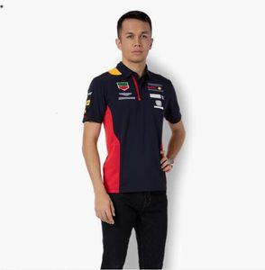 F1 Formel 1 Sommer Trendy Kurzarm Poloshirt Polyester Schnelltrocknung Motorrad Revers T-Shirt Waldstraße Feld Geschwindigkeit Übergeben Sie die