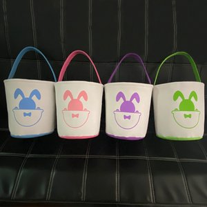 2021 Easter Basket Bunny Bags Cartoon Rabbit Printing Canvas Bag for Gifts Egg Candies Barrel Bucket Kids Baby Cute Lovely Handbag E120905