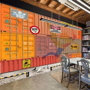 Retro Industrial Style Containers Labels Mural Wall Paper 3D Bar Restaurant KTV Decor Background Wallpaper 3D Papel De Parede