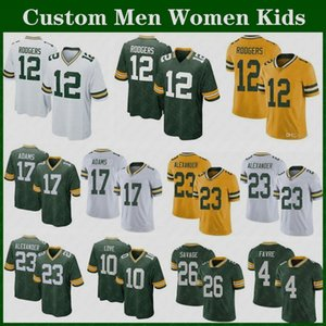 Yüksek Kaliteli Özel Erkek Kadın Çocuklar Aaron Rodgers Packer Futbol Formaları 33 Aaron Jones Davante Adams Jordy Nelson Aşk