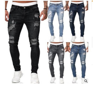 Mens New 5 Colors Strappato Jeans Fashion Slim Denim Pantaloni Pantaloni Street Hipster Cowboy Pantaloni S-3XL Dropshipping Dropshipping
